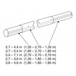 Teleskop. navíjecí tyč - délka 3,7–5,4 m (eloxovaný hliník)